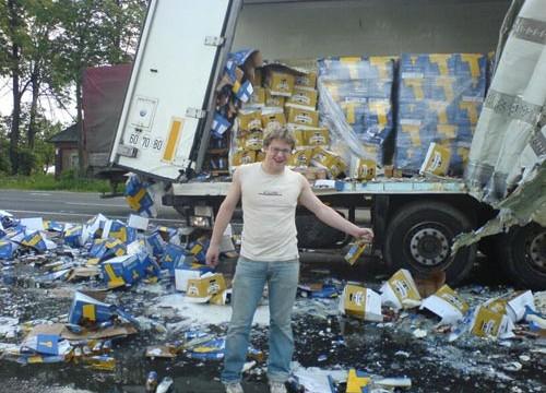 Budweiser truck drives into a lake